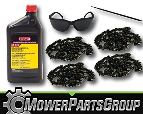 MowerPartsGroup P050 (4) Oregon 91PX056G 16'' Chainsaw Chain 1QT Chain Oil Sharpener & Glasses