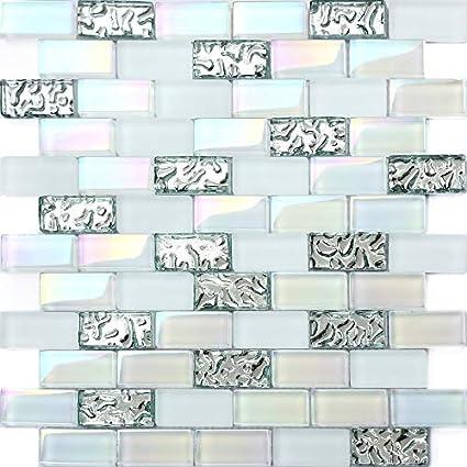 Hominter 11 Sheets Glass Subway Tile Mini Brick 1x2 Glossy