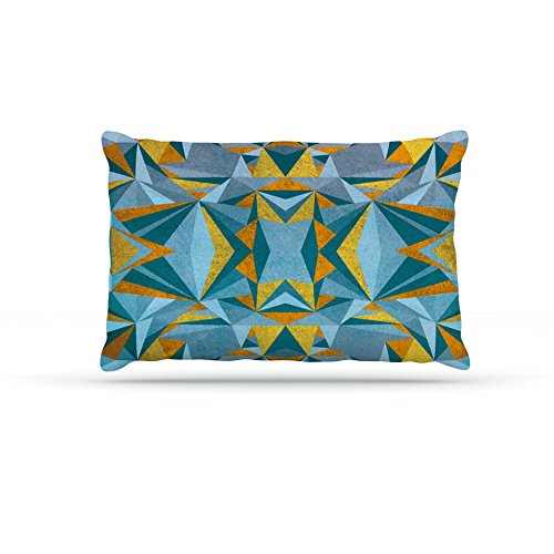 Kess InHouse Nika Martinez Abstraction bluee & gold  Fleece Dog Bed, 50 by 60 , Multicolor