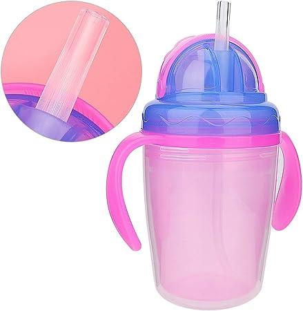 Jingyi Biberón para bebés, ecológico, no tóxico y Seguro Biberón Biberón Paja Alimentación con Agua Mango portátil Entrenamiento Bebedero Accesorios(Amarillo)