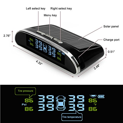 Solar Powered LCD Display w//Dash Stand /& 4 External Sensors 6 Month Warranty Installer Champ Spearhead TPMS Tire Pressure Monitoring System