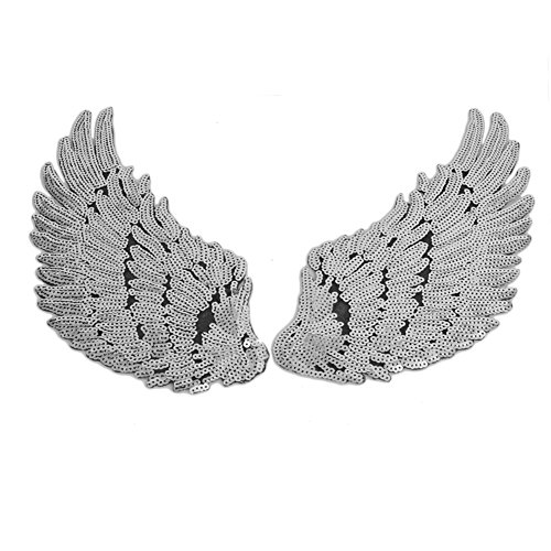 [Hunulu 1Pair Sequins Patch For Clothes Garments Iron Sew Angel Wings Embroidered Patch (silver)] (Angel Costume Tumblr)