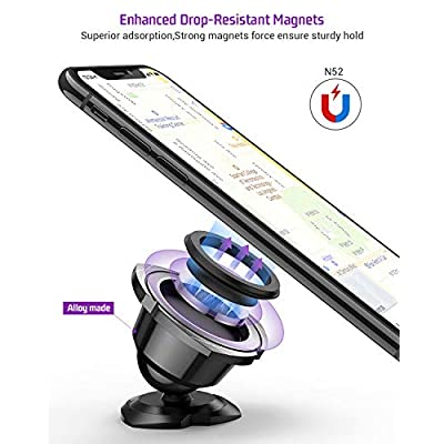 Car Phone Mount, TOTU Magnetic Car Phone Holder, Universal Adjustable Dashboard Magnetic Car Phone Mount for Mini Tablets and iPhone Xs 11 XR, Samsung S10,Google Pixel 3 XL,LG and More