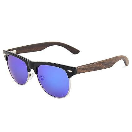 eedeca75b0 KOMEISHO Gafas de sol de madera polarizadas Unisex Classic semi-sin montura  color TAC Lens