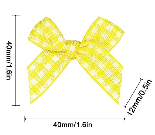 16 Color Pre-Tied Yellow+White Plaid Satin Gift Bows (Pack of 50)
