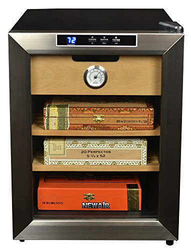 NewAir Cigar Humidor with 250 Cigar Capacity, Digital Cooler Includes Spanish Cedar Shelves, CC-100, Stainless Steel