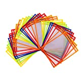 Blue Summit Supplies 30 Multicolored Dry Erase Pockets Oversize 10 x 13 Pockets Perfect for Classroom Organization Reusable Dry Erase Pockets Teaching Supplies 30 PACK