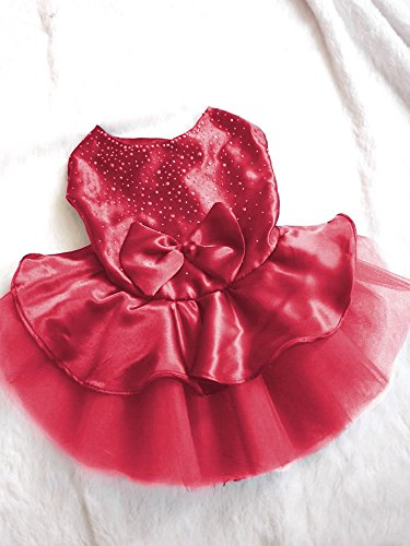 Dealzip Inc Lovely Dog Cat Bow Tutu Dress Lace Skirt Pet Puppy Dog Clothes Costume Red Size XL