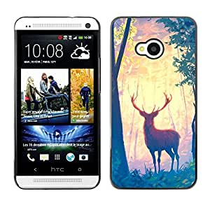 Impact Case Cover with Art Pattern Designs FOR HTC One M7 Deer Forest Trees Art Painting Drawing Animal Betty shop
