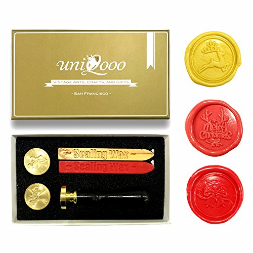Wine Party Invitation Wording (UNIQOOO Arts & Crafts Christmas Wax Seal Stamp Kit, 3 Stamps - Merry Christmas, Jingle Bell, Reindeer, 2 Wick Wax Sticks, Great For Holiday Decorations, Postcards, Invitations, Gift Wrapping)