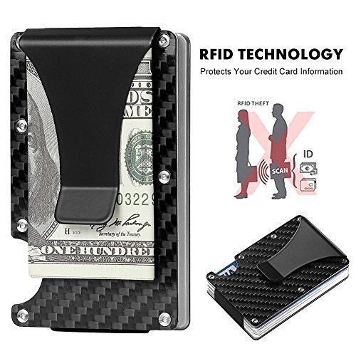 Slim Carbon Fibre Front Pocket Wallet, RFID BLOCKING Money Clip (Carbon Fibre-03) (Carbon Fibre-03) by teemzone (Image #4)