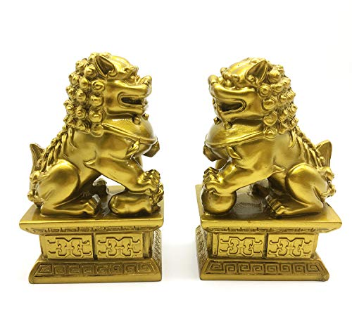 (better us Feng Shui Decor Beijing Lions Cultural Statue Pair of Fu Foo Dogs Guardian Lion Statues Best Housewarming Congratulatory Gift to Ward Off Evil Energy (Color 2))
