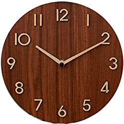 Decorative Wooden Rustic Analog Silent Wall Clock Battery Operated Modern Round Wall Clock Simple for Home, Office, Bedroom, 9, Brown