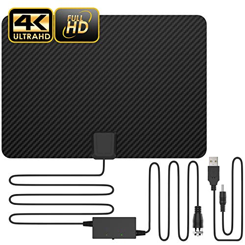 Updated 2019 Version Professional Carbon Fibre 65-120 Miles TV Antenna, Indoor TV Digital HD Antenna 4K HD Freeview Life Local Channels All Type Television Switch Amplifier Signal Booster (Best Indoor Digital Antenna 2019)