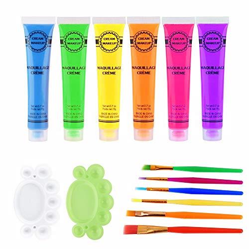 Face Paint Kit 6Pcs 6 Colors UV Blacklight Reactive Face & Body Glow Paint Art Party Club Halloween Dress Makeup Luminous Glowing Painting Kit(Glow Paint Set)]()