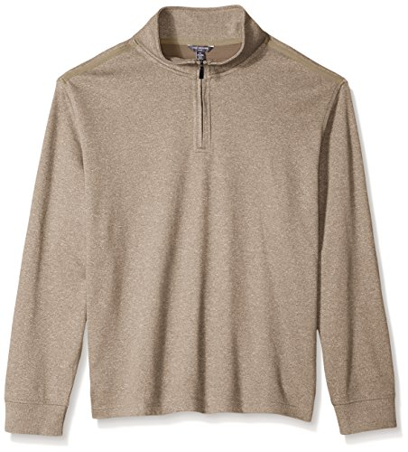 Van Heusen Men's Tall Long Sleeve Spectator Solid 1/4 Zip Shirt, Taupe Brindle, 3X-Large - Van Zipper