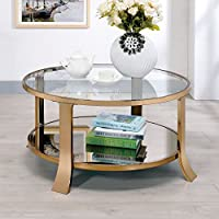 Furniture of America Meryle Round Shelf Coffee Table