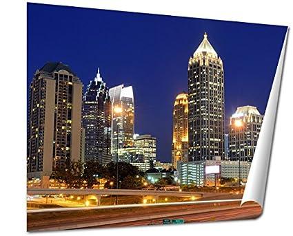 Ashley Giclee Fine Art Print Interstate 85 Runs Below The Skyline Of Midtown Atlanta Georgia