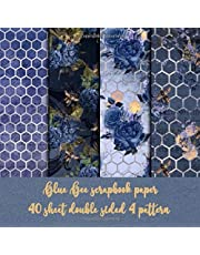 blue bee scrapbook paper 40 sheet double sided 4 pattern: bee watercolor paper for scrapbooking & origami & invitation & gift wrapping