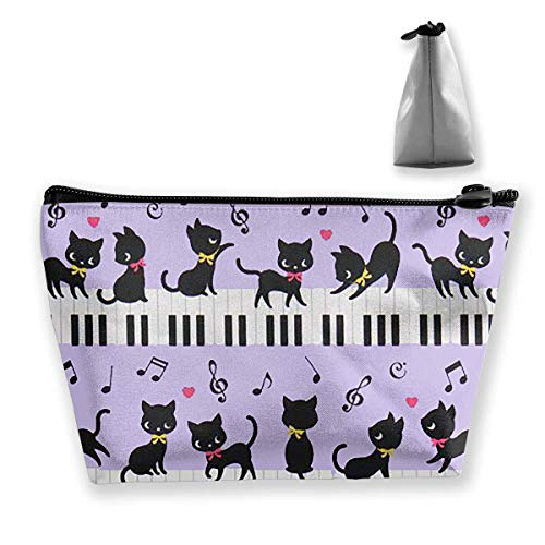 Bag Pouch Case Cat Black Medium Travel Cosmetic Makeup Note Carry Piano 8aYqB