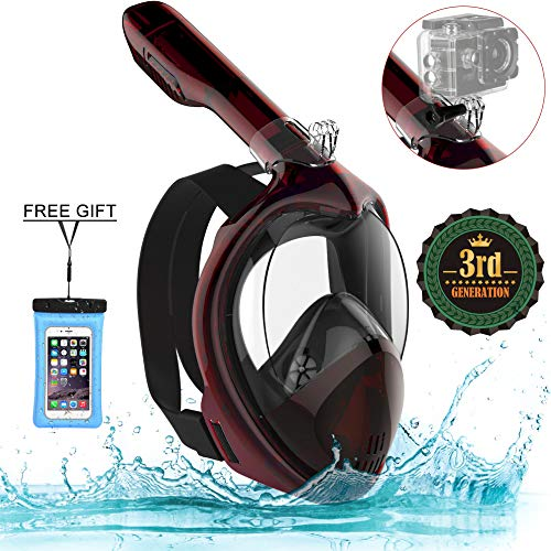 Poppin Kicks Full Face Snorkel Mask for Adult Youth and Kids | 180° Panoramic View Anti-Fog Anti-Leak Easy Breathe GoPro Compatible w/Detachable Camera Mount (3.0 Wine Red, Large/X-Large)