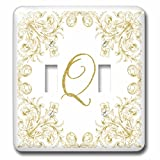 3dRose Uta Naumann Personal Monogram Initials - Letter Q Personal Luxury Vintage Glitter Monogram-Personalized Initial - Light Switch Covers - double toggle switch (lsp_275316_2)