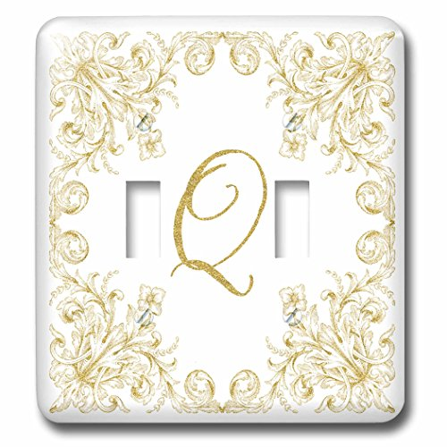 3dRose Uta Naumann Personal Monogram Initials - Letter Q Personal Luxury Vintage Glitter Monogram-Personalized Initial - Light Switch Covers - double toggle switch (lsp_275316_2) by 3dRose