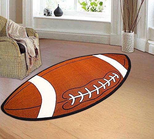 Kids Sports Football Shape Area Rug Actual Size
