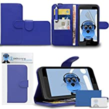 Blue PU Leather Multi-Function Wallet Case Cover with Credit / Business Card Money Holder Viewing Stand, LCD Screen Protector and Retractable Mini Stylus Pen For HTC Desire 320