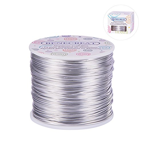BENECREAT 12 17 18 Guage Aluminum Wire Anodized Jewelry Craft Making Beading Floral Colored Aluminum Craft Wire (18 Gauge,492 FT,Silver) Colored Wire Jewelry
