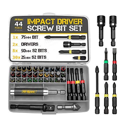 "Hi-Spec 43 Piece 1/4""Hex Shank Impact Driver Screw Bits Set. Drill Driver Power Tool Accessories for DIY Repairs…"