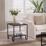 Vintage Brown / Black Frame 2-tier Side End Table with Lower Shelf – 21.5″H For Sale