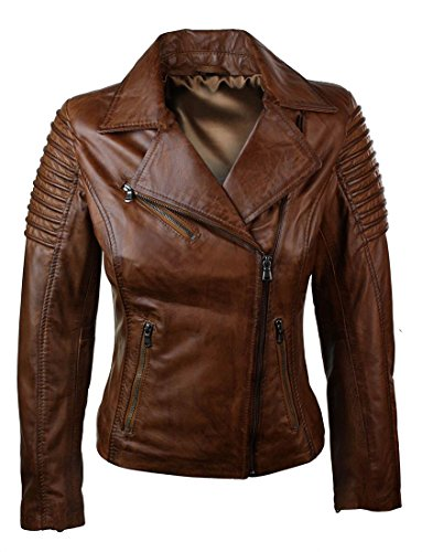 Pelle in Vera Marrone Ragazza Stile da Biker Corta Marrone Giacca Donna Slim e Fit 6qaFz0ww