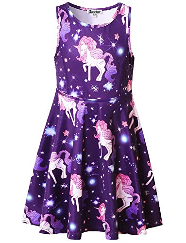Unicorn Dresses for Girl 10 12 Star Outfits Summer Sun Sleeveless Beach Dress]()