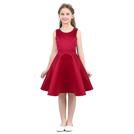 CHICTRY Vestido de Fiesta para Niña Vestido de Flores Sin Mangas Traje Boda Bautizo Ceremonia Dama