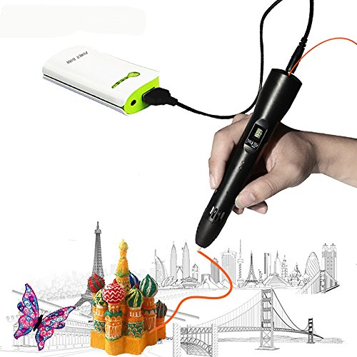 3D Pen For Kids ,Newest 3D Printing Pen Compatible ABS PLA Filament, KT-PRASE Portable 3D Printer Drawing Pen LCD Screen Supports Mobile Power (Black)