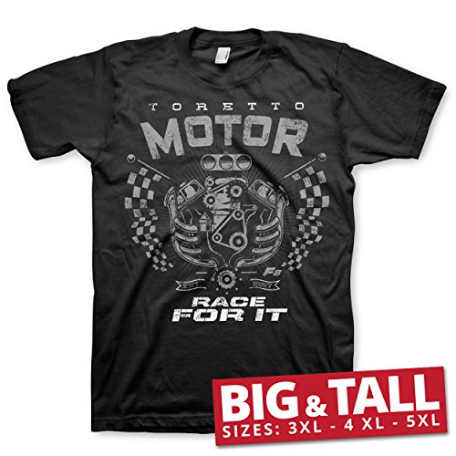 T-shirt Motors Johnson - Fast & Furious Officially Licensed Toretto Motor - Race for It 3XL,4XL,5XL Mens T-Shirt (Black), 4X-Large