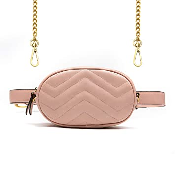 2219723ac88f Amazon.com | Herald Fashion Elegant Quilted Leather Fanny Pack Classy Wasit  Bag with Two Belts | Waist Packs