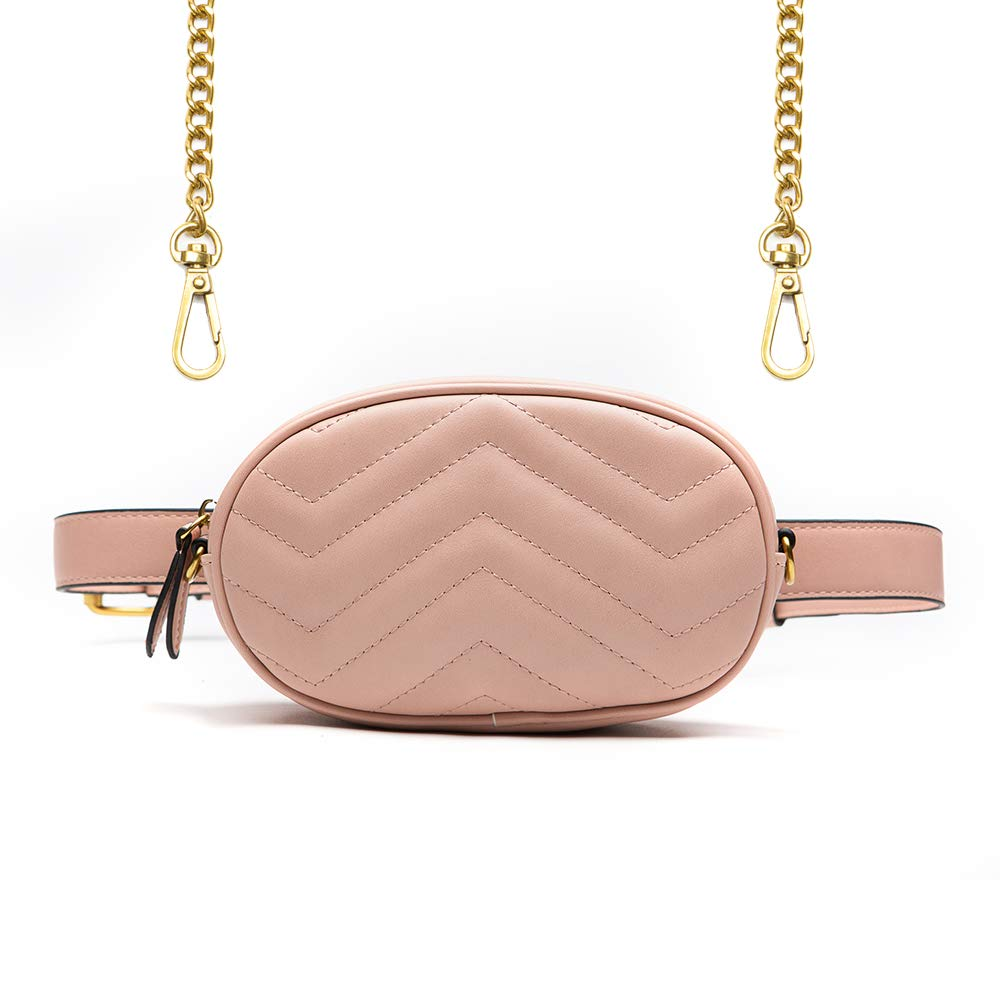 Herald Fashion Elegant Quilted Leather Fanny Pack Classy Wasit Bag with Two Belts