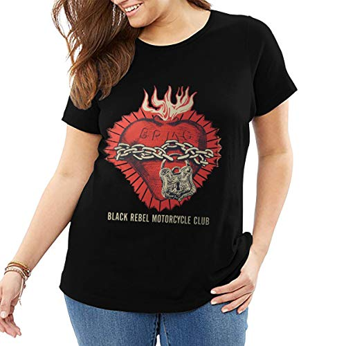 GAWERLON Women's Black Rebel Motorcycle Club Poster 2003 Concert Personality T-Shirt Black 3XL with Short Sleeve Big Size T-Shirt