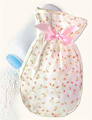 (Dainty Rosebuds Pink White Floral Dusting Powder Mitt)
