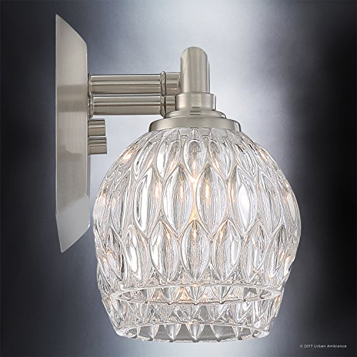 Luxury Crystal Bathroom Vanity Light, Medium Size: 6.25''H x 12.5''W, with Classic Style Elements, Brushed Nickel Finish and Marquis Cut Glass Shades, G9 LED Technology, UQL2620 by Urban Ambiance by Urban Ambiance (Image #4)