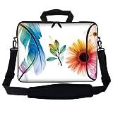 Meffort Inc 15 15.6 inch Neoprene Laptop Bag Sleeve with Extra Side Pocket, Soft Carrying Handle & Removable Shoulder Strap for 14