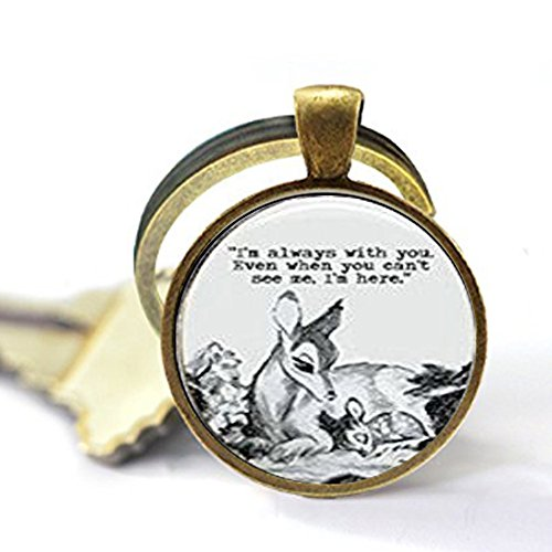 Oval Bambi & Mother 'Always with You' Quote Dome Keychain Keychain -