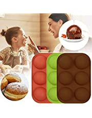 6-Cavity Semi Sphere Silicone Mold, Baking Mold for Making Hot Chocolate Bomb, Cake, Jelly, Dome Mousse (3pcs)