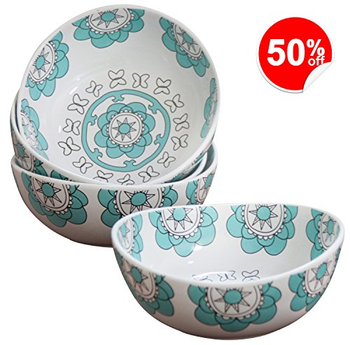 Porcelain Bowl Set 4 for Soup Cereal Rice, Hand Made Floral Pattern Decorative Bowls, Mint Blue - Blue Floral Pattern