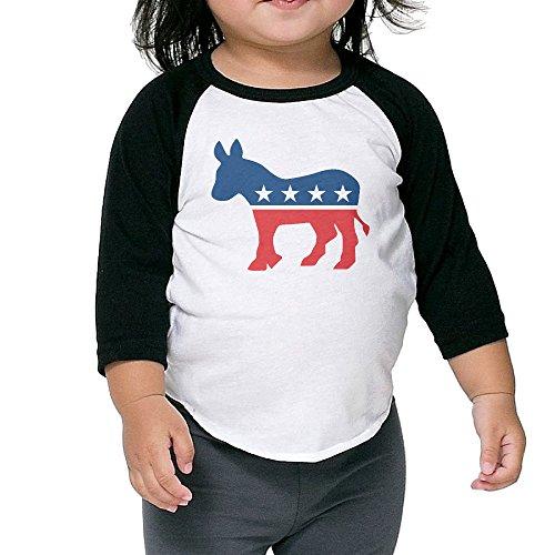 - Zengshabi Election 2016 Democratic Party Hillary Clinton 3/4 Sleeve Raglan Baseball T Shirts For Kids Black