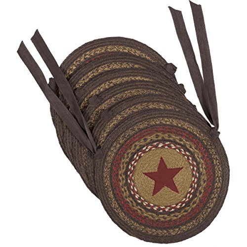 VHC Brands Classic Country Primitive Tabletop & Kitchen – Landon Tan Applique Star Jute Chair Pad Set of 6