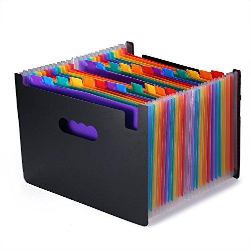 Large Accordion Organizer (24 Pockets Expanding Files Folder/ Large Plastic Rainbow A4 Expandable File organizer/ Portable Accordion File Folder/ High Capacity Multicolour Stand/Coupon Organizer/ Plastic Business Filing Box)