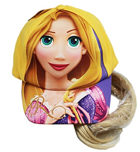 Disney's Tangled Yellow Colored Cap With Fake Attached Ponytail (Hats With Hair Attached)